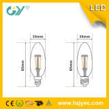 필라멘트 가벼운 C37 4W E27 3000k LED 초