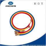 Rojo/Amarillo/Azul/Negro tubo de carga de refrigerante con válvula de bola