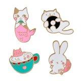 Pin отворотом эмали кролика кота Mermaid шаржа милый для одежд, крышек, мешков