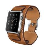 Cinghia piena su ordinazione di Iwatch del cinturino di vigilanza del Apple del cuoio di grano del Brown di disegno popolare