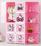 De Verkoop van het Kabinet van de Garderobe van de woonkamer, Plastic Garderobe met Kleerhanger Pool, de Goedkope Vouwende Garderobes van de Slaapkamer van het Comité DIY van pp (EP-07)