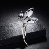 Broche cristalina de la flor de traje de China de la joyería del Rhinestone al por mayor de la perla
