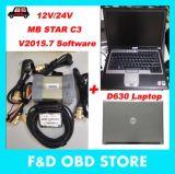 2018 Nouveau Scanner OBD2 MB Star C3 12V/24V pour voitures et camions Mercedes +D630 Portable Das/Xentry V2015.07 12/24V pleine de câbles du disque dur