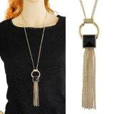 Mode charme acrylique noire longue géométrique Tassel Collier pendentif