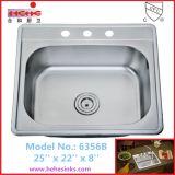 Bassin de cuisine simple d'acier inoxydable de cuvette de 2522 Topmount (6356)