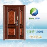 Porta de Entrada da Porta Exterior populares a porta de segurança única porta de aço (FD-F19M)