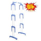 PP plastique crochet de suspension de séchage des vêtements à trois niveaux avec des roues (JP-CR300W)