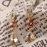 Boucles d'oreille de cristal de Topaz de Rhinestone de goutte pour les oreilles d'alliage plaquées par bijou de type de mode