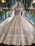 Aoliweiya устраивающих вышитый Satin длинные поезда свадебные платье