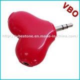 Forme de coeur coloré séparateur pour écouteurs pour un couple, de la musique Splitter, accessoires de casque
