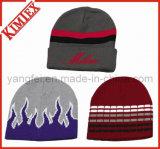 習慣の安いアクリルのジャカードによって編まれる冬のリバーシブルの帽子