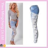 2016 горячая продажа европейской и американской моды Sexy Openwork кружево джинсы