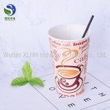 Tazas de café dobles disponibles impresas insignia del papel de empapelar para la bebida caliente