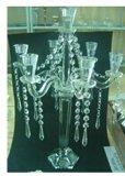 Suporte de vela de cristal para a decoração do casamento com cinco bornes H: 30cm)