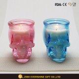 Sostenedor de vela de cristal del cráneo colorido al por mayor
