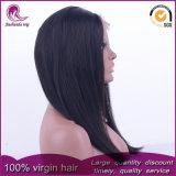 자연적인 까만 실크 똑바른 브라질 Virgin 머리 정면 레이스 가발