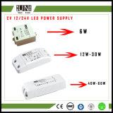 Del Ce delle coperture LED alta pf LED alimentazione elettrica di plastica di commutazione del driver 12/24V 6W 12W 20W 30W 40W 60W