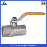 Valvola a sfera d'ottone forgiata di controllo dell'impianto idraulico con la maniglia di alluminio (YD-1022)