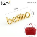 OEM ODM Hot Sale Fashion lettres ensemble plaque or logo en métal personnalisée tag Étiquette pour les sacs à main