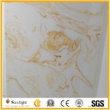 عقيق اصطناعيّة رخاميّة أبيض/صفراء حجارة اصطناعيّة لأنّ [فلووينغ] قراميد