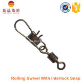 Material de latão Rolling Swivel with Interlock Snap Fishing Swivel