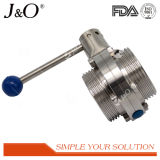 Válvula de borboleta sanitária da linha do aço inoxidável de Ss304/Ss316L