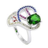 새로운 작풍 CZ는 925의 은 다이아몬드 반지를 둥글게 된다