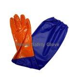 Gants rugueux résistants et imperméables à l'eau chimiques de PVC avec la longue chemise