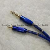 6.35 Mono штепсельная вилка к 3.5 соединениям микрофона Stereo/кабелю сини аппаратуры гитары/нот