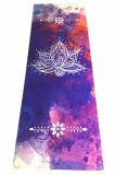 Mat van de Yoga van Microfiber Sude van het Natuurlijke Rubber van het Af:drukken van de Douane van het Ontwerp van Lotus de Slip