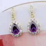 Moda mulheres banhados a ouro de 18k lágrima púrpura brincos de Pedra