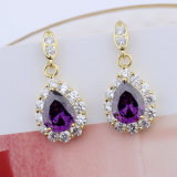 Moda 18k banhado a ouro mulheres roxas lágrima Stone Stud Earrings