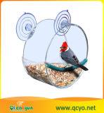 Acrílico transparente forma redonda del alimentador de aves con Sucker