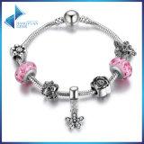 Pulseras rosadas y brazaletes de los granos de cristal de la CZ del claro pendiente de la margarita del deslumbramiento de la manera para la joyería de las mujeres DIY