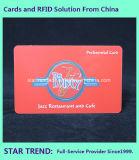 Cartão de cafeteria feito de plástico com fita magnética (ISO 7811)