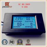 AC monofásico 20A 4en1 Amperímetro digital de la energía de voltaje de alimentación del medidor de potencia