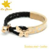 Bela pulseira de aço inoxidável e couro