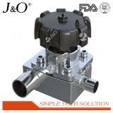 Aço inoxidável sanitário L tipo válvula de diafragma