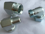 Adaptador hidráulico de cotovelo DIN de 24 graus Zinc com porca