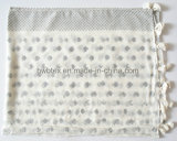 Fashion Silver Powder Printing Viscose Lady Scarf avec des glands (HWBVS064)