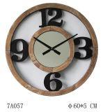Reloj de pared cortado del gran número 12/3/6/9 negro de madera natural del número con el espejo