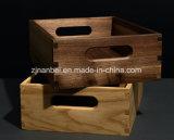 Caisse en bois faite sur commande de noix noire de logo avec le traitement