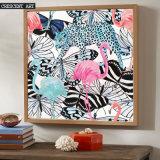 ポップアートの野性生物のフラミンゴのヒョウ映像の蝶キャンバスプリント