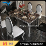 Tabella pranzante di marmo della mobilia dell'acciaio inossidabile del nero cinese del blocco per grafici