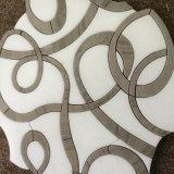 Het onregelmatige Waterjet van het Ontwerp Witte Marmeren Mozaïek van het Medaillon