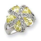 SterlingSilver Leuchte-grün und Clear CZ Flower Ring CJRP1061