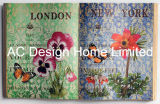 優雅な花デザインPU Leather/MDFの木の本の形の壁の芸術