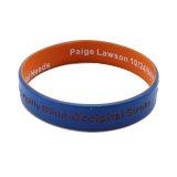 Incandescenza interna di marchio della più nuova stampa di seta nel braccialetto su ordinazione poco costoso scuro del silicone