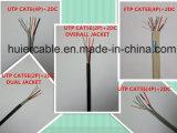 Cable de la red de UTP Cat5e con los alambres de la potencia y la chaqueta dual