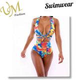 Напечатанный цветком Swimwear Swimsuits комода Nylon тканей цельный v Spandex